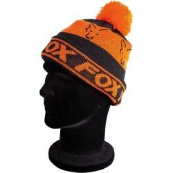 Czapka Black/Orange - Lined Bobble Hat - Fox CPR991